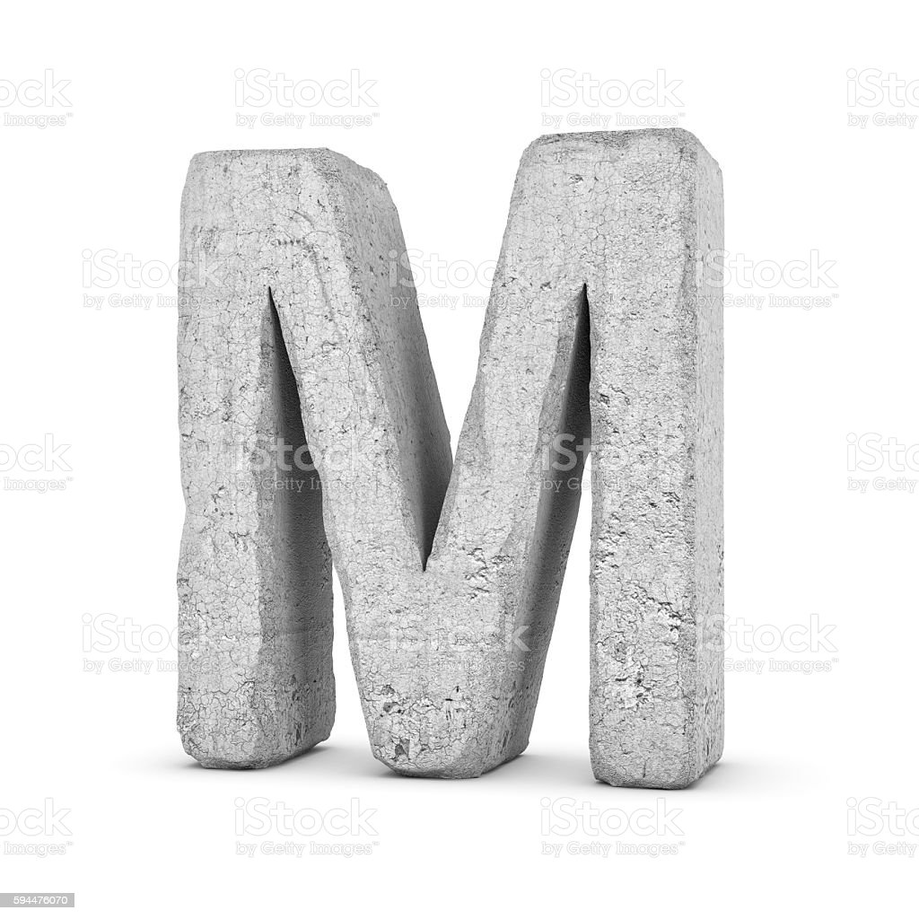Concrete letter M isolated on white background stock photo