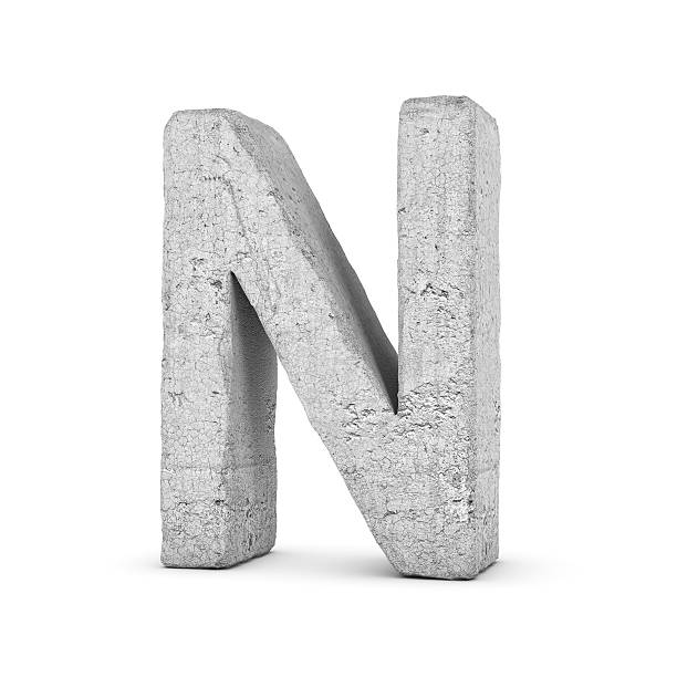 concrete letter n isolated on white background - stone font stock photos and pictures