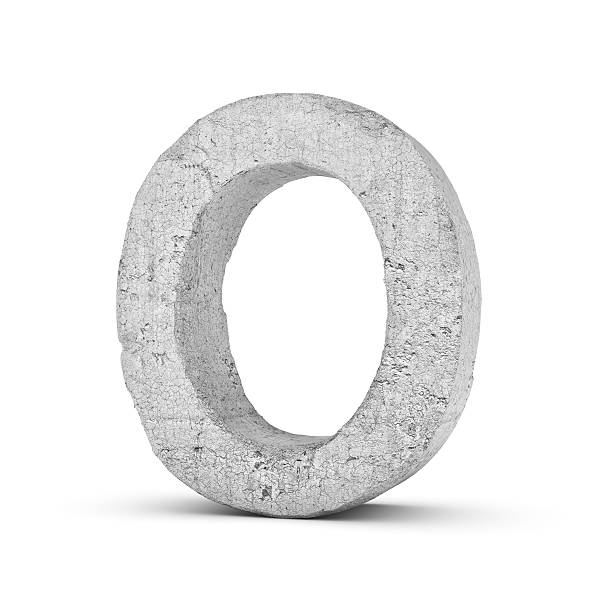 Concrete letter O isolated on white background - foto de acervo
