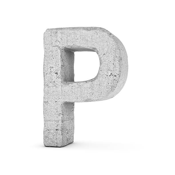 concrete letter p isolated on white background - stone font stock photos and pictures