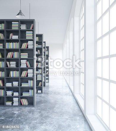 istock Concrete library interior 618424470