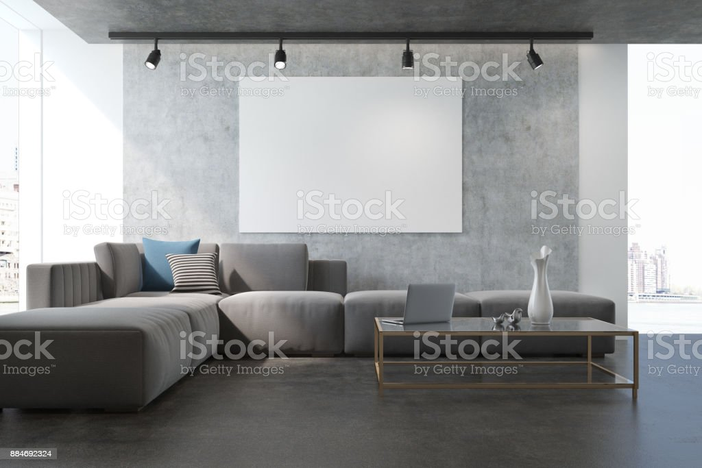 Concrete living room armchair and poster stock photo