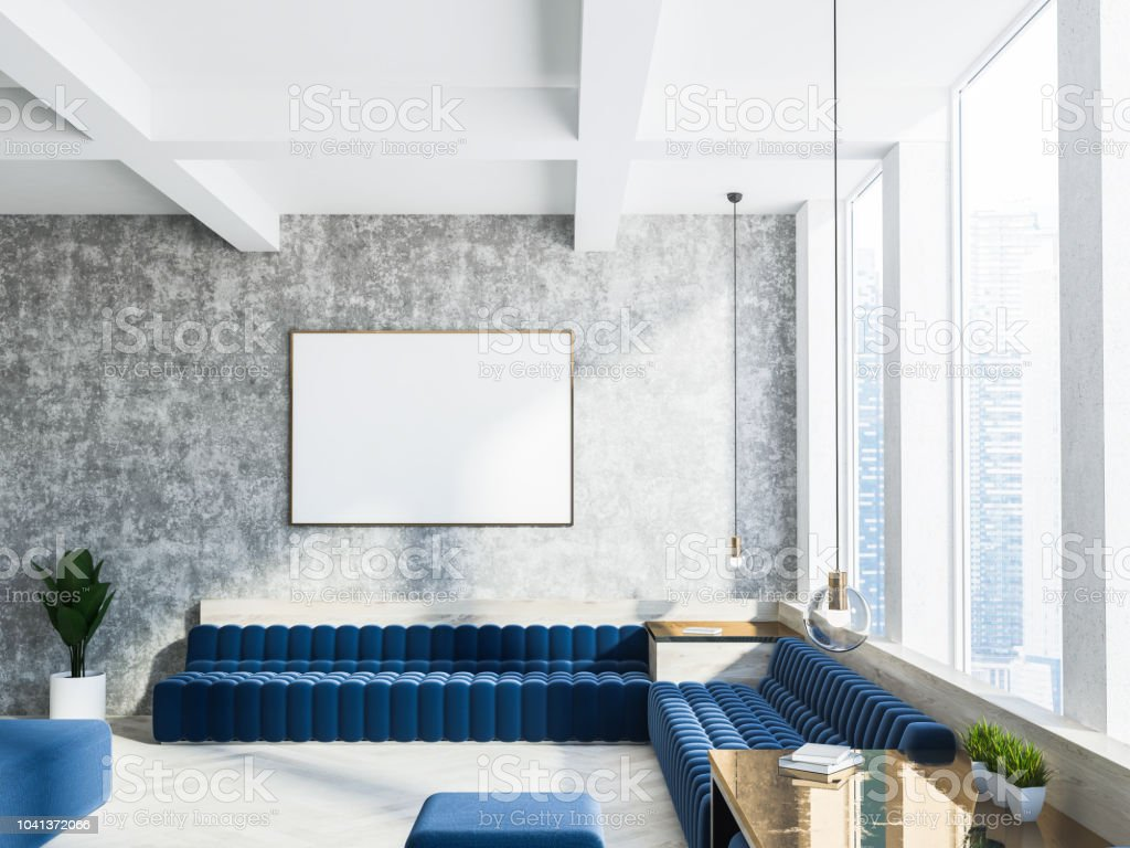 Concrete Living Room Interior Blue Sofa Poster Stock Photo Download Image Now Istock