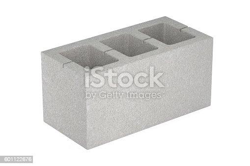Concrete masonry unit, 3D rendering isolated on white background