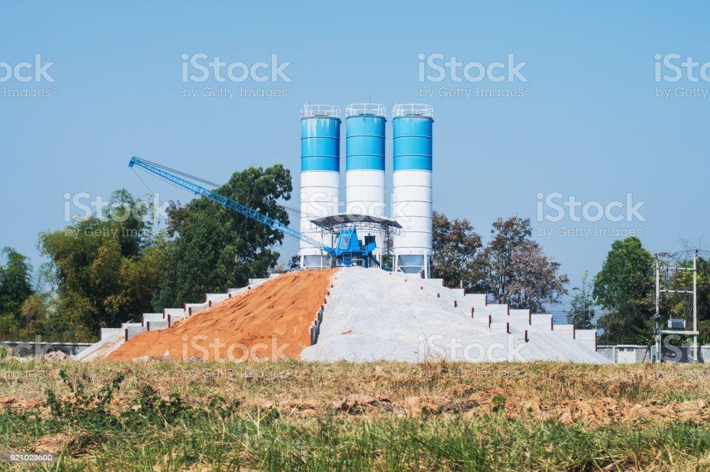 Concrete mixer factory plant stock photo