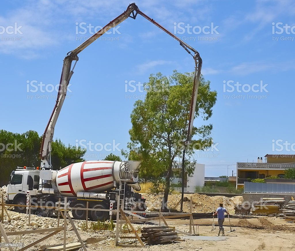 Concrete mixer for the transport stock photo