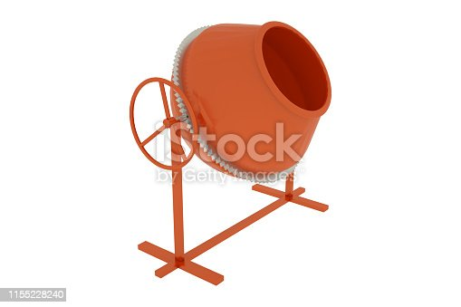 istock Concrete mixer isolated on white background. 3D illustration 1155228240