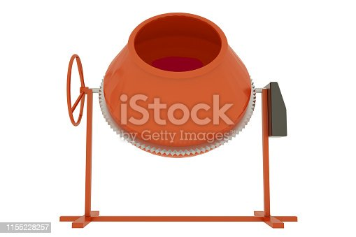 istock Concrete mixer isolated on white background. 3D illustration 1155228257