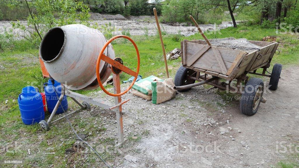 Concrete mixer on construction site stock photo