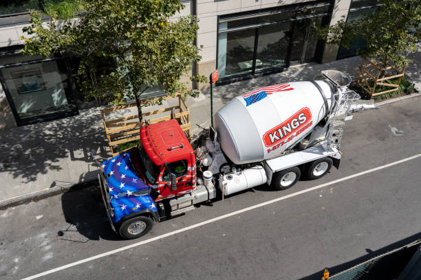 Concrete Mixer Truck in Manhattan, NYC stock photo