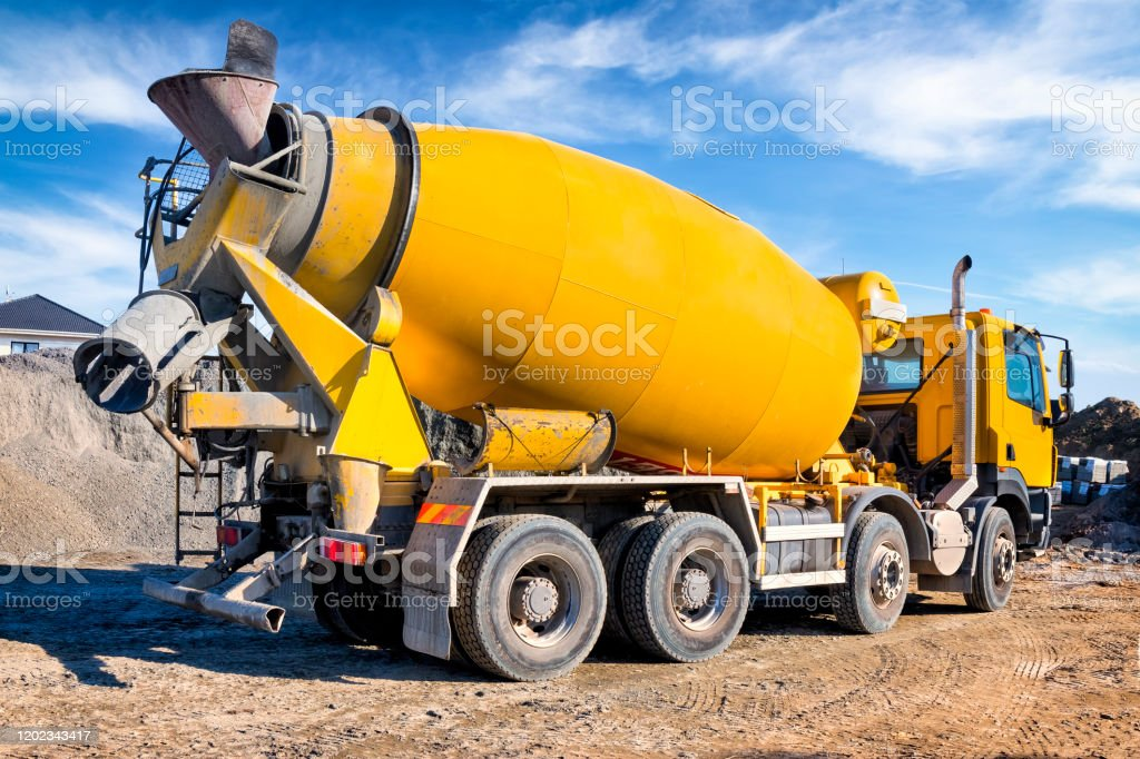 Concrete Mixer Truck On The Construction Of A Local Road In The Suburbs Stock Photo Download Image Now Istock