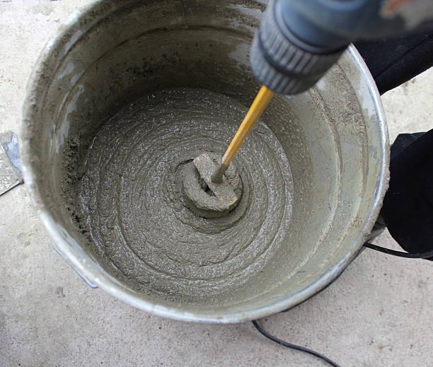concrete mixing stock photo