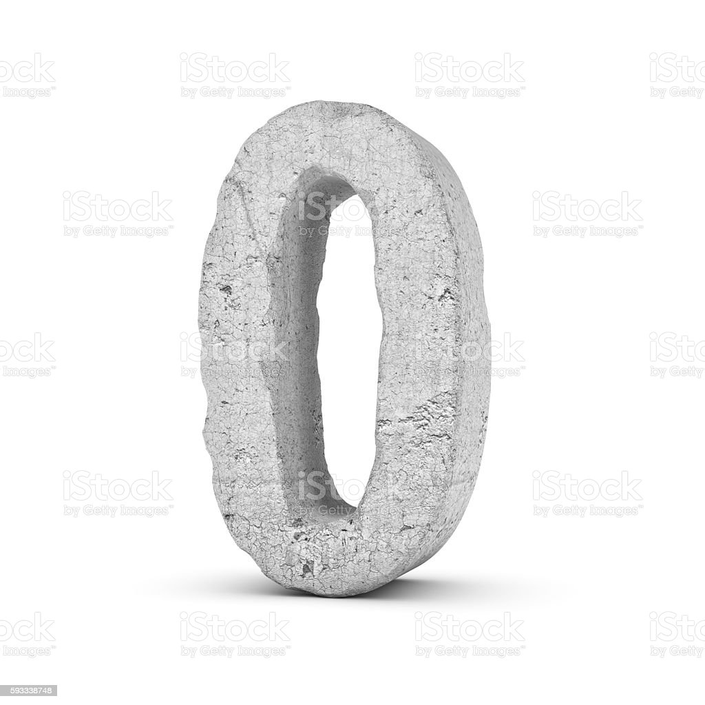 Concrete number 0 isolated on white background stock photo