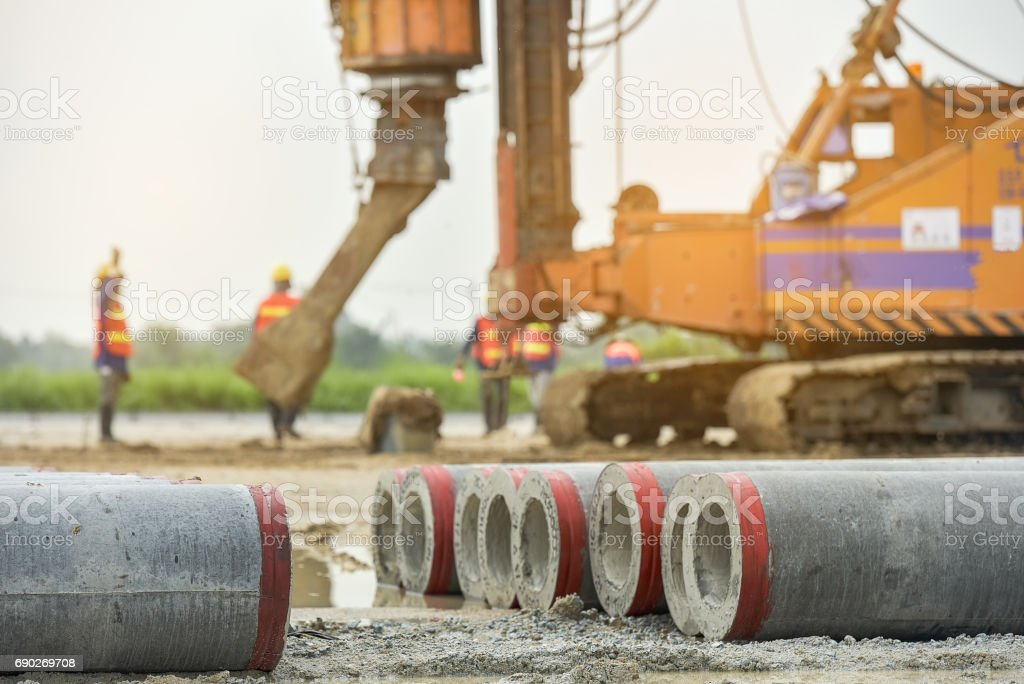 concrete Pile at construction site stock photo