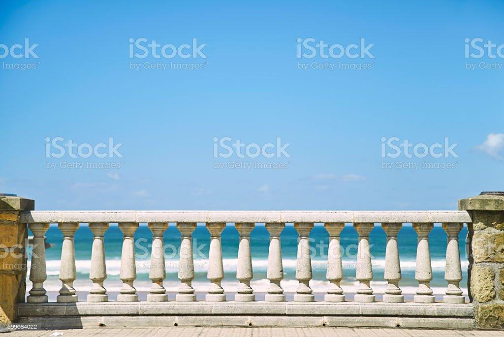 Concrete pillar fence and blue sky stock photo