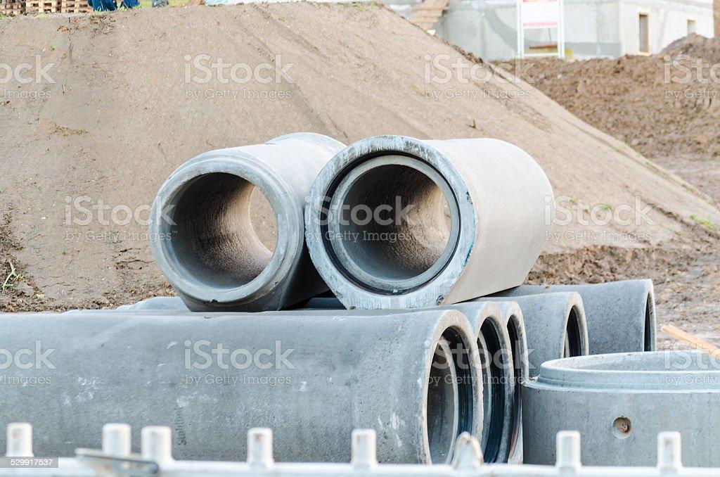 Concrete pipes, sewage stock photo