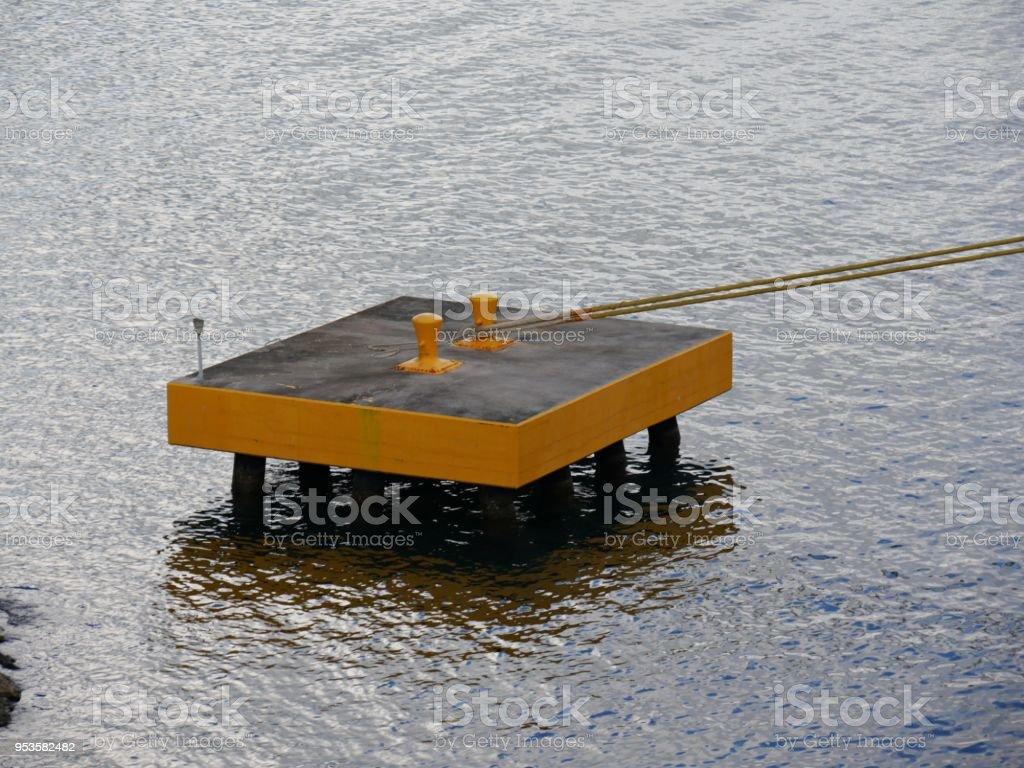 concrete platform with bollards stock photo