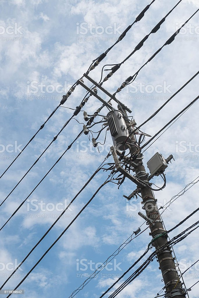 Concrete Pole For Street Lighting With Power Distribution Wires ...