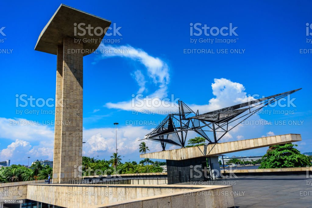 Concrete portal sculpture and metal sculpture of the National Monument to the Dead of the Second World War, Rio de Janeiro stock photo