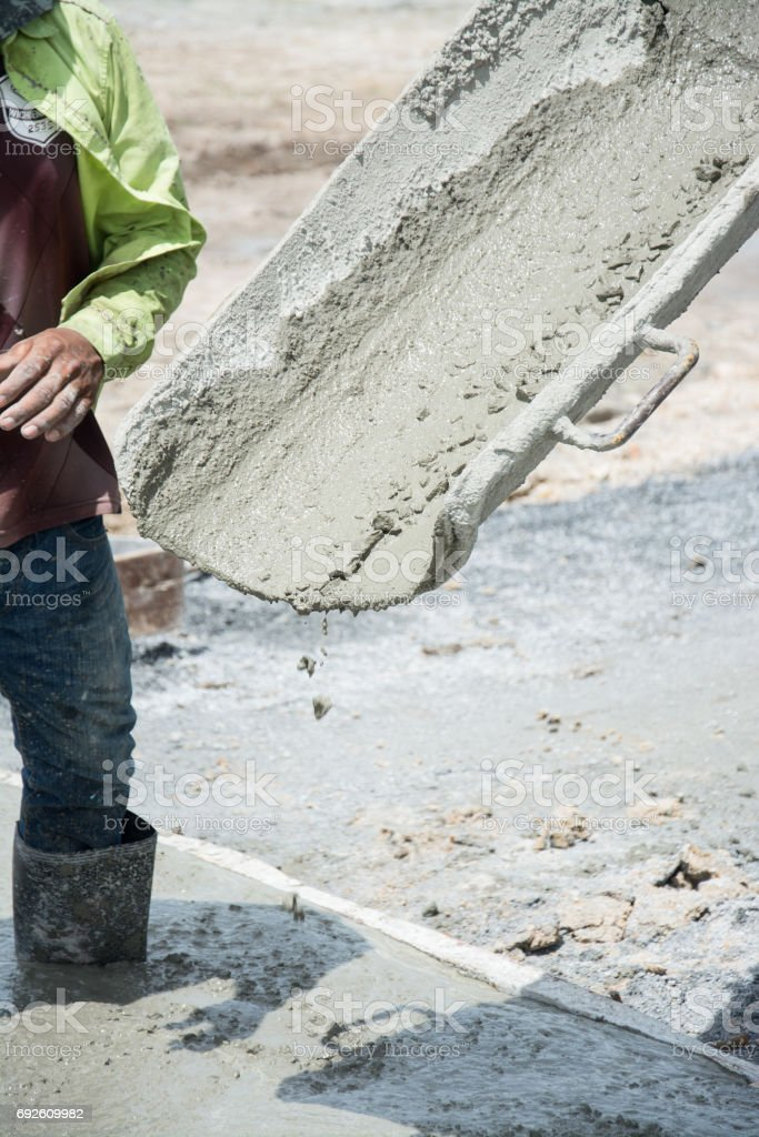 Concrete pouring on the floors stock photo