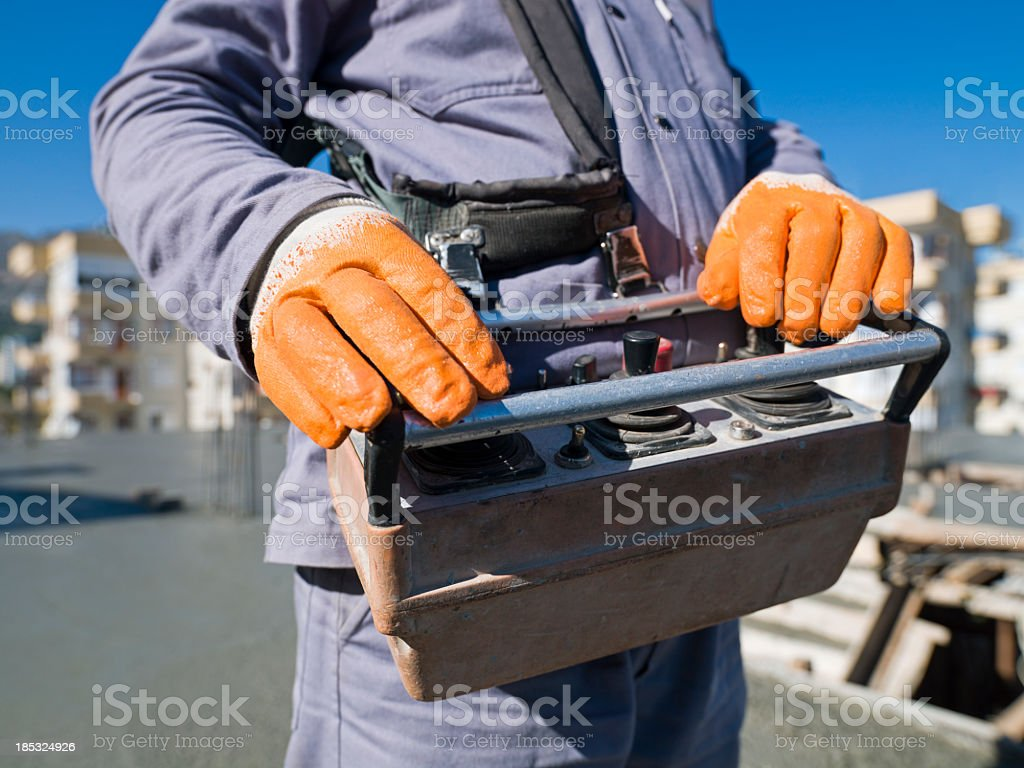 Concrete pump operator royalty-free stock photo
