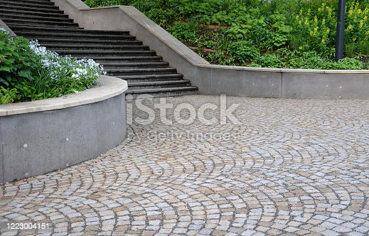 park, path, tree, garden, nature, green, trees, landscape, road, bridge, architecture, walk, grass, way, stone, stairs, summer, outdoor, alley, street, old, travel, spring, footpath, outdoors, staircase, wall, retaining, slopes, blue, white, trunks, fresh, trash, can, waste, pavement, granite, gray, yellow, cubes, urban, detail