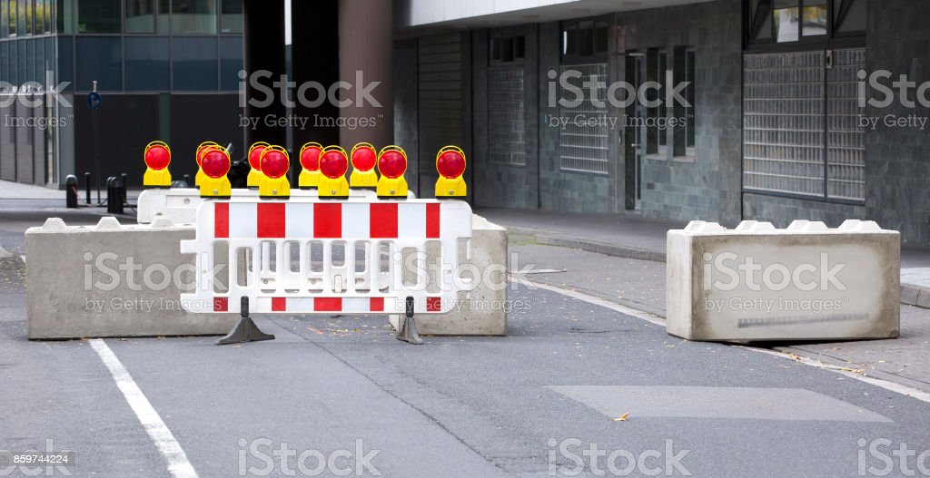 Concrete road barriers stock photo