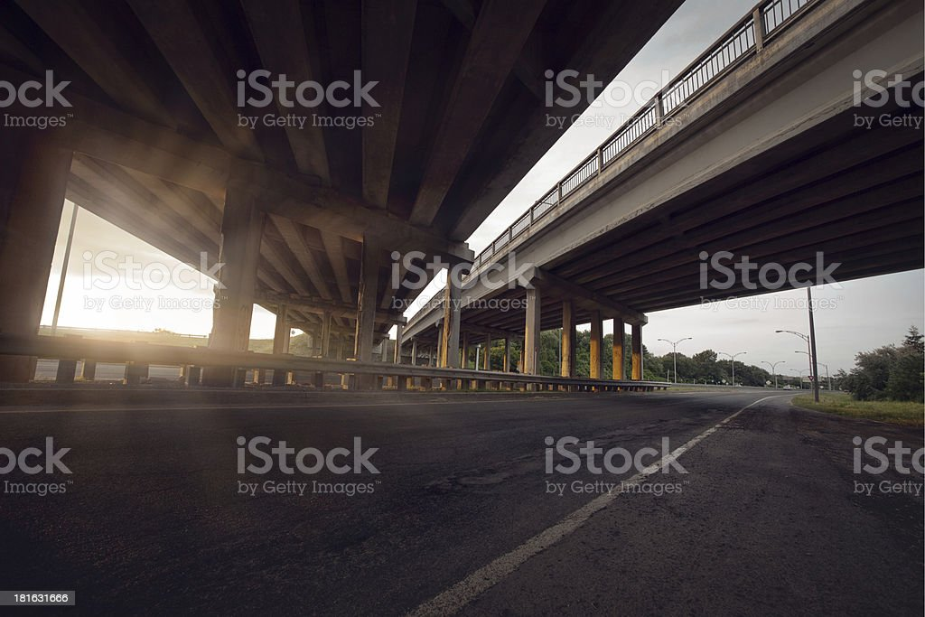 Concrete road straight line of viaduct stock photo