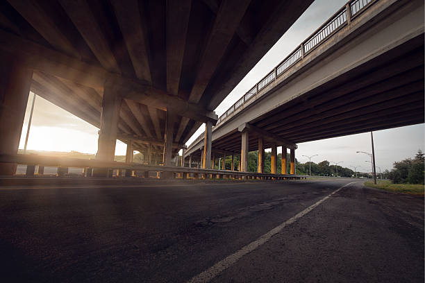 Concrete road straight line of viaduct Concrete road straight line of viaduct in Montreal, Canada outdoor. elevated road stock pictures, royalty-free photos & images