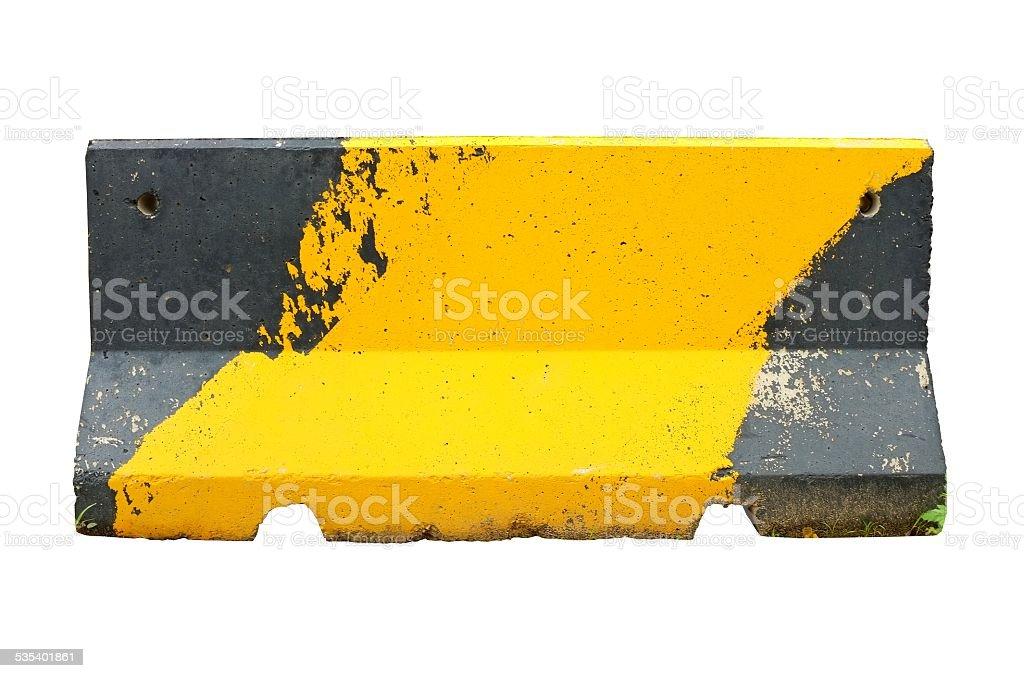Concrete roadblock isolated on white stock photo
