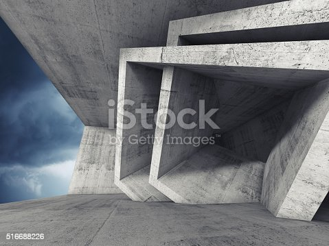 516688156istockphoto Concrete room 3d interior with cubic structures 516688226