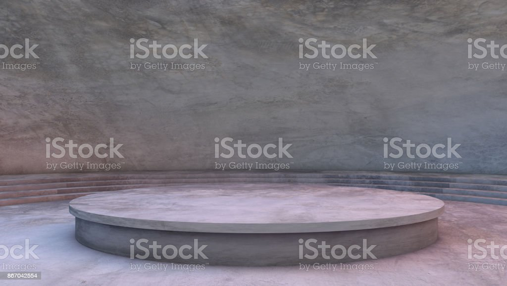 concrete room background, pedestal platform stage stock photo