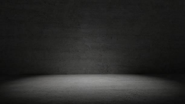 camera di cemento in luce scura circondato sfondo parete. riflettori puntati in mezzo alla stanza di cemento. concetto astratto e carta da parati. tema interno e architettura. copiare lo spazio. rendering dell'illustrazione 3d - calcestruzzo foto e immagini stock