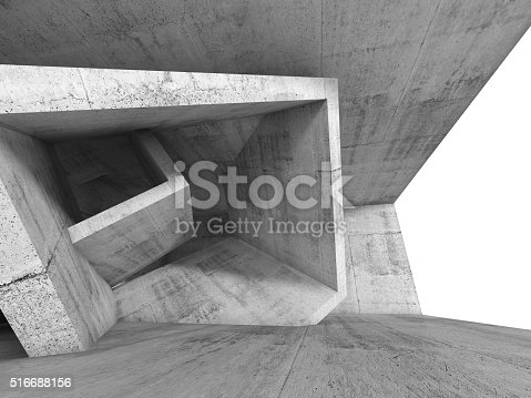istock Concrete room interior with 3d cubic structure 516688156