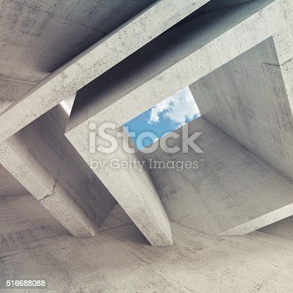 516688156istockphoto Concrete room interior with blue cloudy sky 516688088