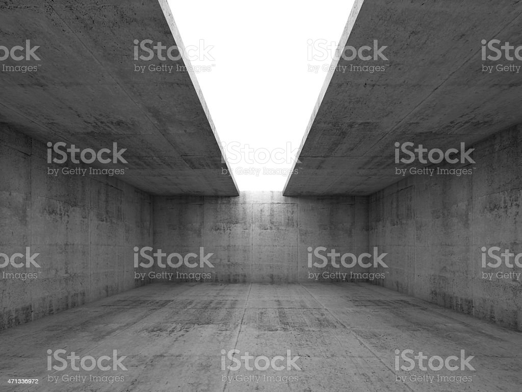 Concrete room interior with opening in ceiling, 3d stock photo