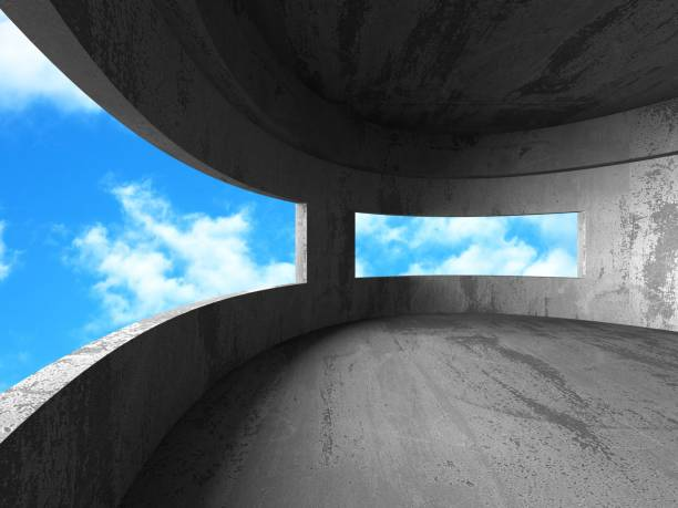 Betonraum-Wandkonstruktion auf bewölktem Himmel – Foto