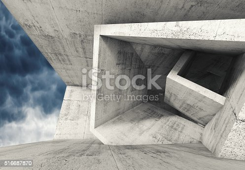 516688156istockphoto Concrete room with cubic structures 3 d 516687870