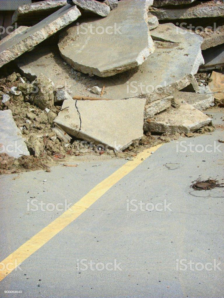 concrete rubble stock photo