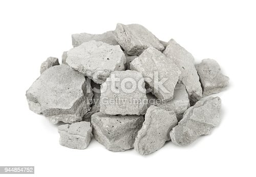 Pile of concrete rubble isolated on white