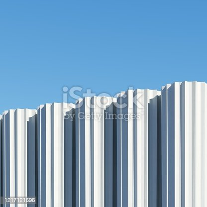 951228698 istock photo Concrete shape building with shadows on sky background. Minimal architecture Ideas concept. 3D Render. 1217121696