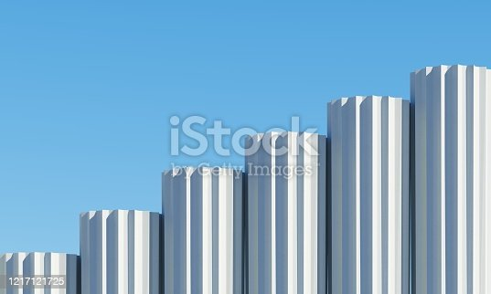 951228698 istock photo Concrete shape building with shadows on sky background. Minimal architecture Ideas concept. 3D Render. 1217121725