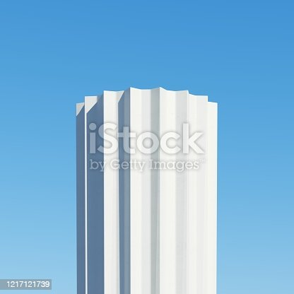 951228698 istock photo Concrete shape building with shadows on sky background. Minimal architecture Ideas concept. 3D Render. 1217121739