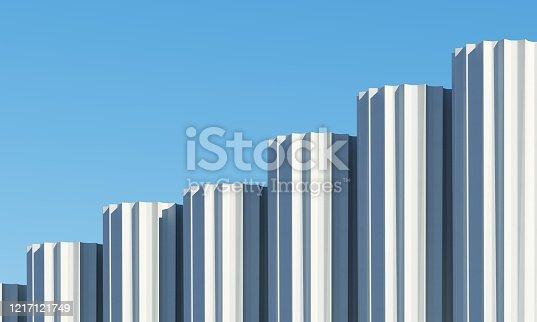 951228698 istock photo Concrete shape building with shadows on sky background. Minimal architecture Ideas concept. 3D Render. 1217121749