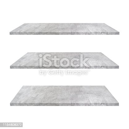 3 concrete shelves table isolated on white background and display montage for product.