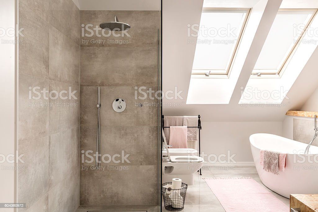 Concrete shower in bathroom stock photo