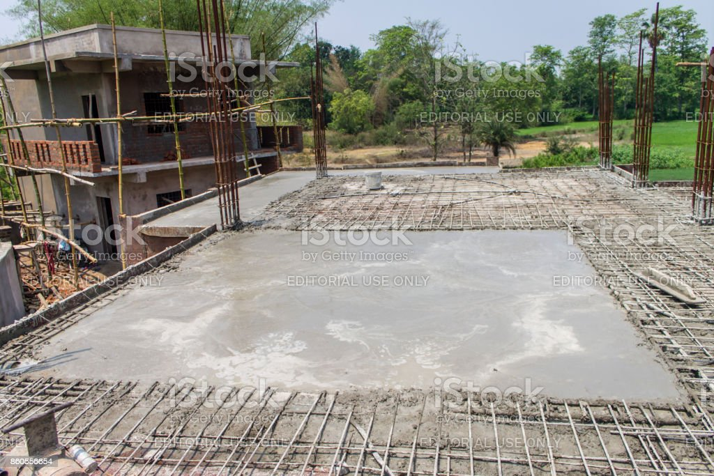 concrete slab casting of a house roof royalty free stock photo - House Built On Concrete Slab