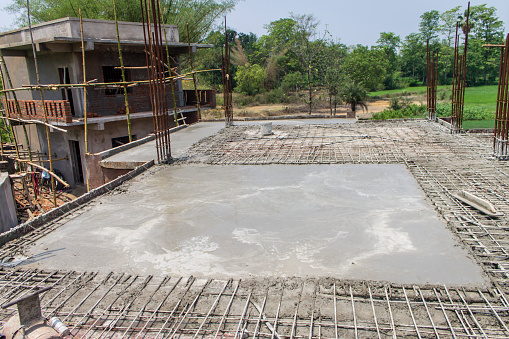 Concrete Slab Casting Of A House Roof Stock Photo Download Image