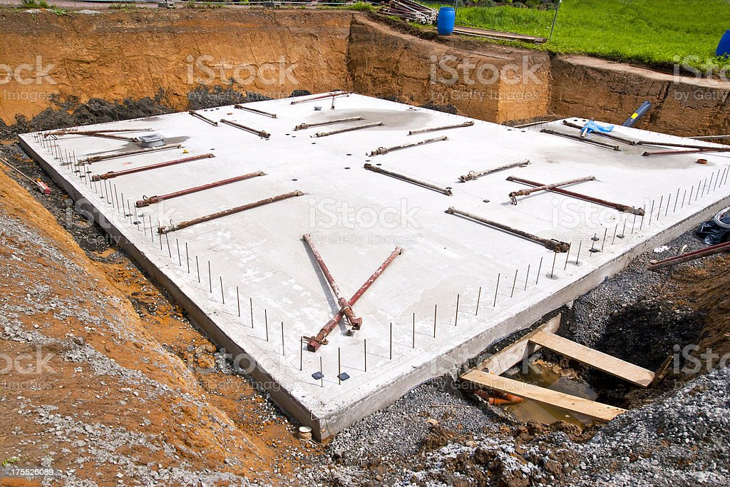 Concrete Slab for a new Home stock photo