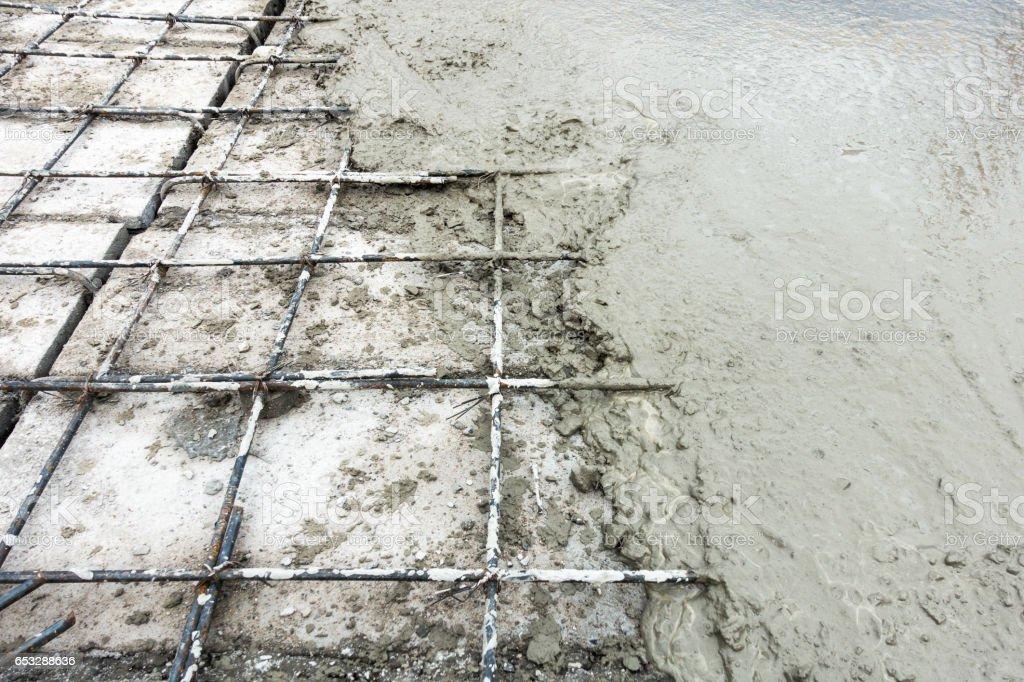 Concrete slab paving on hollow core slab flooring. stock photo